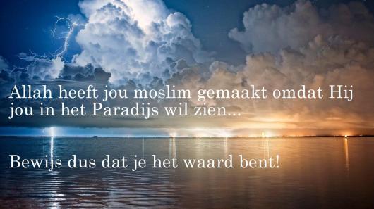Allah wil je in het Paradijs zien