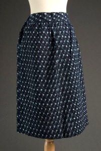 Front view of indigo blue kasuri dirndl skirt with turquoise basketweave pattern