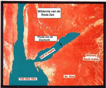 Plaats van de overtocht aan de golf van Aqaba