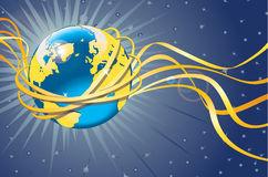 aarde-met-gouden-baan-en-banden-ruimtemening-36971368