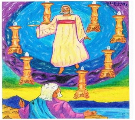 Openbaring hoofdstuk 1,2 en 3 : Christus wandelt tussen 7 kandelaren die staan voor de 7 gemeenten in Turkije