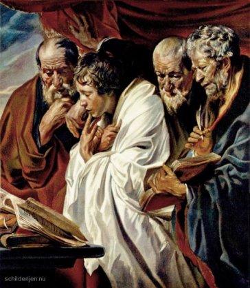 de 4 evangelisten: schilderij van Jacob Jordaens