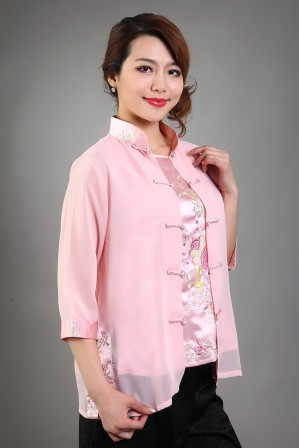 High-Fashion-font-b-Pink-b-font-Female-font-b-Silk-b-font-Chiffon-Blouse-Embroidery