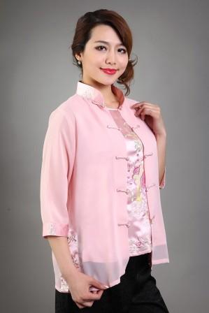 High-Fashion-font-b-Pink-b-font-Female-font-b-Silk-b-font-Chiffon-Blouse-Embroidery