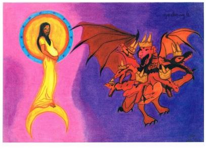 hoofdstuk 12 van de Openbaring ; de vrouw en de draak, strijd in de hemel