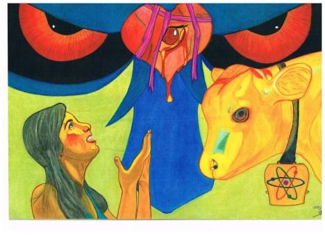 De verering van de duivel en de mammon, de geldgod