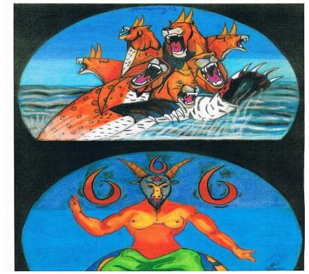 Symbolische voorstelling van de komst van de antichrist en de valse profeet : hoofdstuk 13 van de Openbaring uit het Nieuwe Testament
